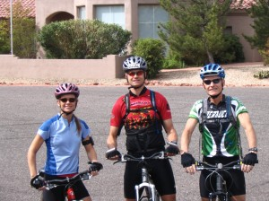 Lynn, her Sweet Hubby, and her Dad....on their way for a mountain Bike in Sedona